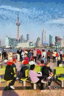 China Painting - The Bund In Shanghai by George Atsametakis