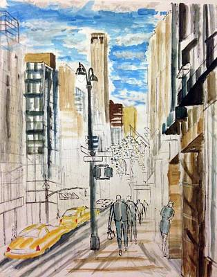 Light Lunch Painting - The Burberry Building With Two Madmen by Enrico Miguel Thomas