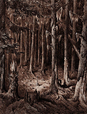Fir Trees Drawing - The Burial-ground In The Fir-forest by Litz Collection