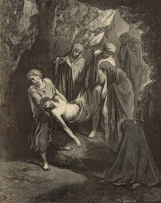 Scriptural Drawing - The Burial Of Jesus by Antique Engravings