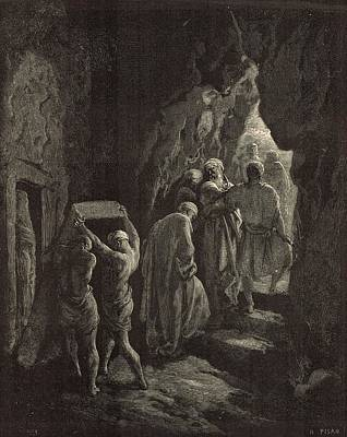 Yahweh Drawing - The Burial Of Sarah by Antique Engravings