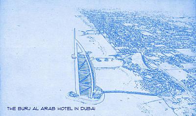 Capture Mixed Media - The Burj Al Arab Hotel In Dubai  - Blueprint Drawing by MotionAge Designs