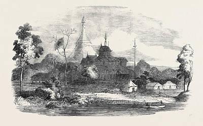 Burmese Python Drawing - The Burmese War Building Used As The Field Hospital by English School