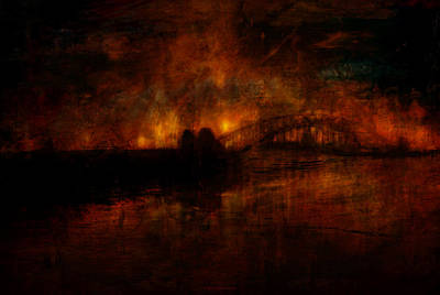 Impressionist Mixed Media - The Burning Of Sydney by Kim Gauge