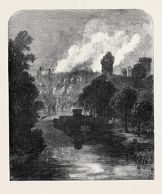 The Burning Of Warwick Castle 1871 Print by English School