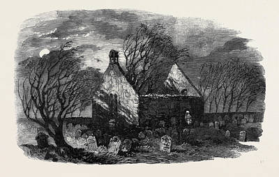 Haunted House Drawing - The Burns Centenary Alloways Auld Haunted Kirk by English School