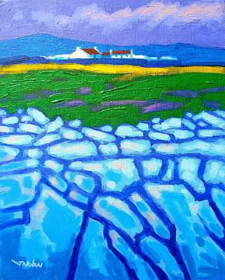 Burren Painting - The Burren County Clare Ireland by John  Nolan