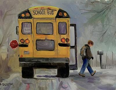 School Bus Painting - The Bus by Linda Dunbar