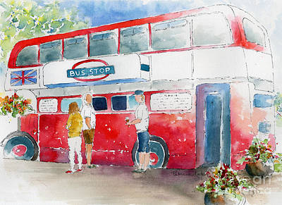Blue And Red Painting - The Bus Stop by Pat Katz