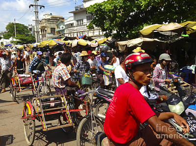Photograph - The Bustling Traffic On 27th Street Zay Cho Street Market Mandalay Burma by Ralph A  Ledergerber-Photography