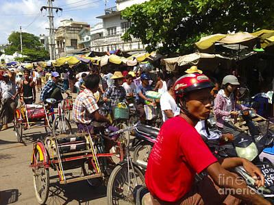Photograph - The Bustling Traffic On 27th Street Zay Cho Street Market Mandalay Burma by Ralph A  Ledergerber-Photography