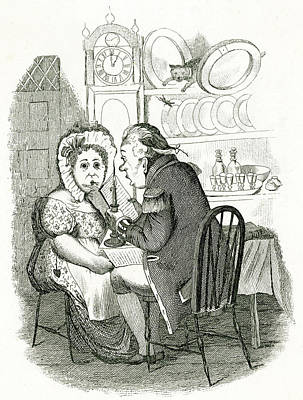 Candle Lit Drawing - The Butler And The Cook by Mary Evans Picture Library