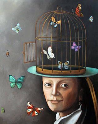 Cage Painting - The Butterfly Keeper 1 by Leah Saulnier The Painting Maniac
