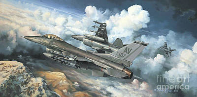 Warplane Painting - The Buzzard Boys From Aviano by Randy Green