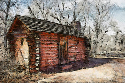 Old Buildings Digital Art - The Cabin by Ernie Echols