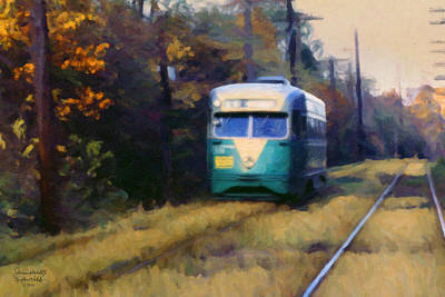 Art Print featuring the painting The Cabin John Trolley by Spyder Webb