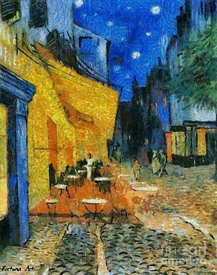 Provence Painting - The Cafe Terrace After Van Gogh by Dragica  Micki Fortuna