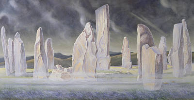 Neolithic Painting - The Callanish Legend Isle Of Lewis by Evangeline Dickson