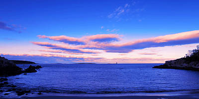 The Calm Ocean With Sunset Clouds Art Print by Paul Ge