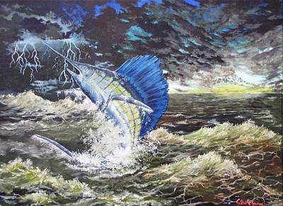 Painting - The Calm The Crazy The Sailfish by Kevin F Heuman