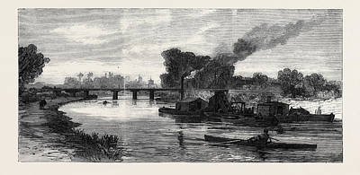 Cambridge Drawing - The Cam River Improvements Dredging Near Cambridge Uk 1869 by English School
