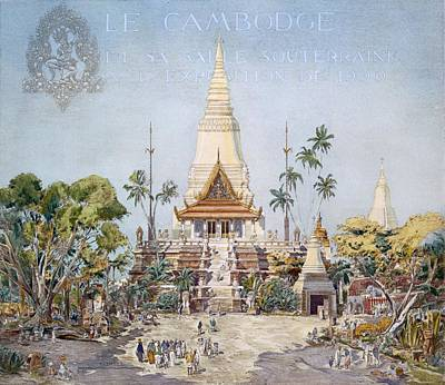 Temple Drawing - The Cambodian Pavilion, Paris Expo by Alexandre Auguste Louis Marcel