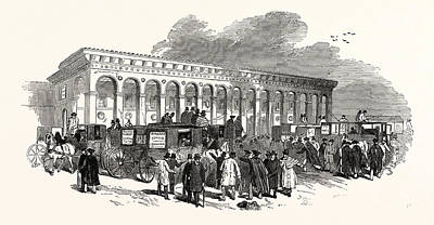 Cambridge Drawing - The Cambridge Chancellorship Election The Railway Station by English School