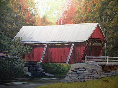 Covered Bridge Painting - The Campbell Covered Bridge by Matty Dreadlocks