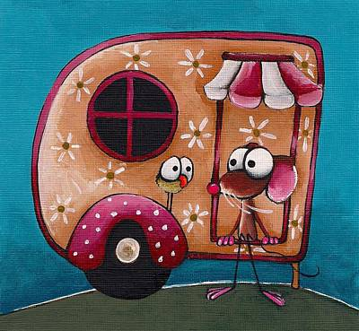 Whimsical. Painting - The Camper Van by Lucia Stewart