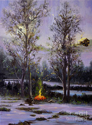 Painting - The Campfire by Connie Tom
