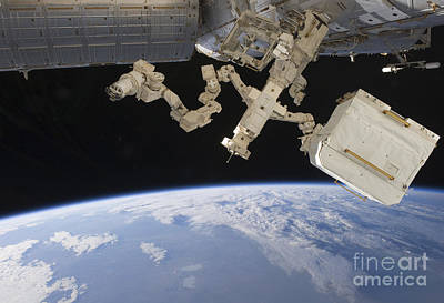 The Canadian-built Dextre Backdropped Art Print
