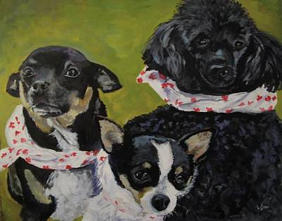 Dog Portrait Painting - The Canadians  by Kellie Straw