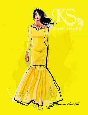 The Canary Dress With Kami Shade' Logo Art Print by Renee Reeser Zelnick