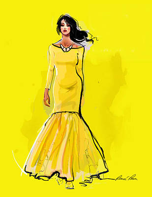 The Canary Yellow Gown Art Print by Renee Reeser Zelnick