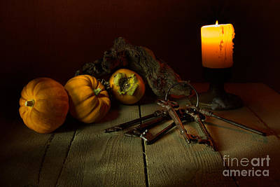 Persimon Photograph - The Candle And A Bunch Of Old Keys by Ann Garrett