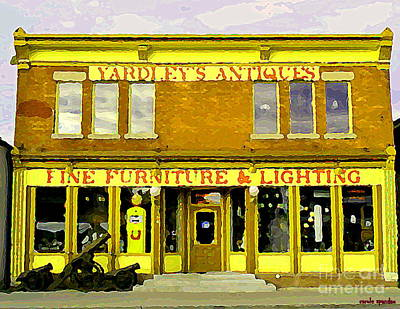 Furniture Store Painting - The Cannons Roar At Yardleys Antiques On Bank St Old Ottawa Streetscenes Glebe Paintings  by Carole Spandau