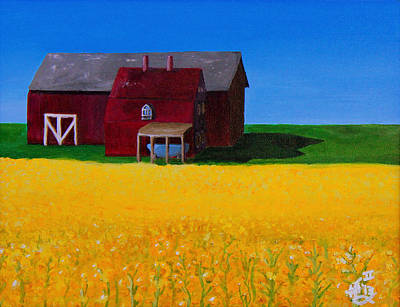 Blue Barn Doors Painting - The Canola Farm by Spencer Hudon II