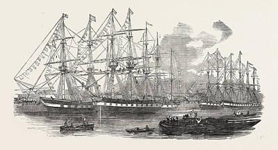 Nugent Drawing - The Canterbury Association Ships Bangalore, Dominion, Duke by English School