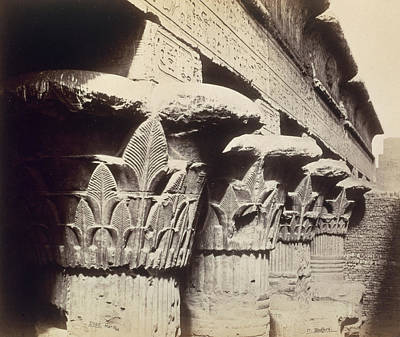 Hieroglyphics Photograph - The Capitals Of The Portico Of The Temple Of Khnum In Esna by Francis Bedford