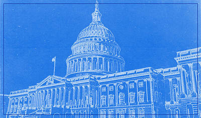 High Rise Painting - The Capitol Blueprint by Celestial Images