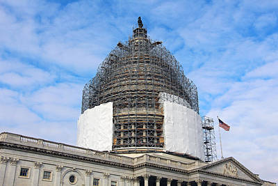 Photograph - United States Capitol Dome Scaffolding by Cora Wandel