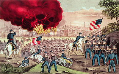 Star Spangled Banner Painting - The Capture Of Atlanta By The Union Army by Currier and Ives