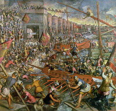 Soldier Painting - The Capture Of Constantinople In 1204 by Jacopo Robusti Tintoretto