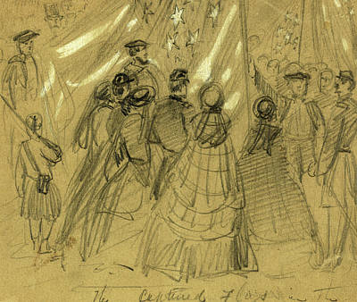 Chinese American Drawing - The Captured Flags In The O, 1862 February by Quint Lox