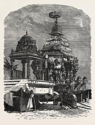 Juggernaut Drawing - The Car Of Juggernaut. Hindu Ratha Yatra Temple Car by English School