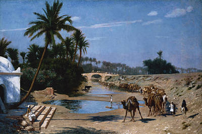 Orientalist Painting - The Caravan by Jean Leon Gerome