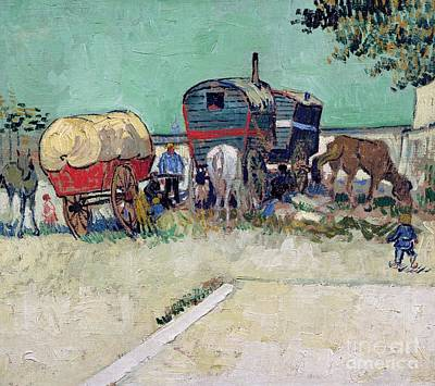 The Caravans   Gypsy Encampment Near Arles Art Print by Vincent Van Gogh