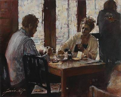 Painting - The Card Game At Olympia Cafe by Gavin Calf