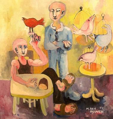 The Cardinal Sings Art Print by Moshe BenReuven