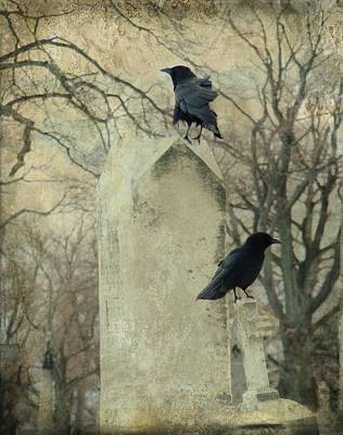Ravens In Graveyard Photograph - The Caretakers by Gothicrow Images